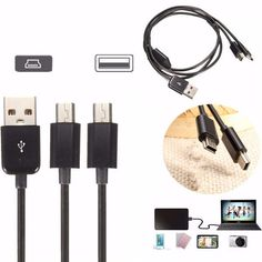1M/3.3FT USB 2.0 A Male to Dual Mini USB 2.0 Male Data Sync Charger Cable Cord
