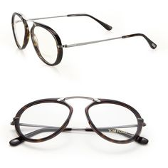 Tom Ford Eyewear 53MM Round Acetate & Metal Optical Glasses ($390) ❤ liked on Polyvore featuring accessories, eyewear, eyeglasses, apparel & accessories, dark havana, oversized glasses, round eyeglasses, dark glasses, oversized round eyeglasses and tom ford eye glasses