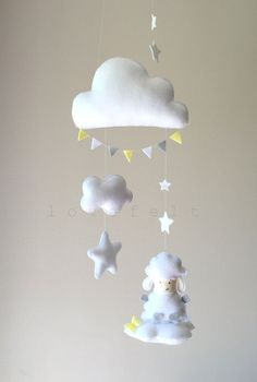 Baby mobile  Clouds Mobile  Baby mobile by GiseleBlakerDesigns