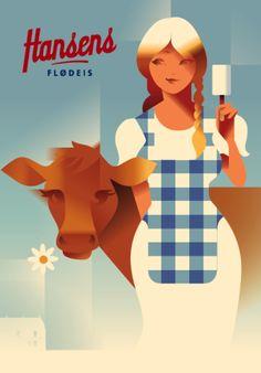 Hansen's Ice Cream l Poster by Mads Berg l #summer