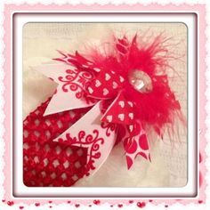 NeW iTEM RED VALENTiNES DaY HEADBAND Baby Toddler Girl Shower Gift Present Handmade OTT Jeweled Polka Dot Ribbon Bow Boutique Style. $12.50, via Etsy.
