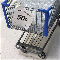 Single Serve Water Shopping Cart Bulk Bin – Fixtures Close Up Point Of Purchase, Cart, Water Bottle, Retail, Shopping, Covered Wagon, Point Of Sale, Water Bottles, Sleeve