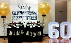Birthday Table 60 Party Ideas 60th Balloons Centerpieces
