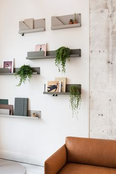 Muuto FOLDED shelves by Johan van Hengel and OUTLINE sofa by Anderssen and Voll at Mobilia Interior in Amsterdam Office Interior Design, Decor, Office Wall Decor, Living Room Decor Inspiration, Home, Interior, Shelves, Muuto Furniture, Furniture Design