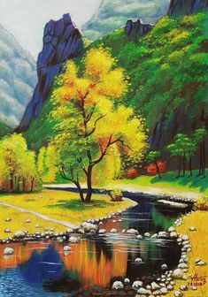 Painting modern art famous artists heaven painting colorful landscape landscape paintings paper art by saroj art painting chinese scrollColourful Landscape Painting By Harun Ayhan Saatchi … Landscape Painting Images, Beautiful Landscape Paintings, Landscape Wallpaper, Landscape Pictures, Nature Paintings, Fantasy Landscape, Most Beautiful Paintings, Beautiful Nature Pictures, Landscape Photography