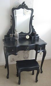 632398cac0 Antique BLACK DRESSING TABLE and MIRROR French Vintage Shabby Chic Ornate  SALE