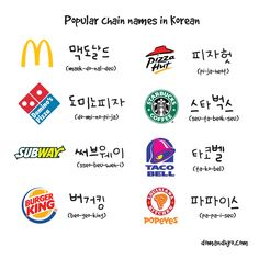 Chain names in Korean #learn #Korean #foodstores