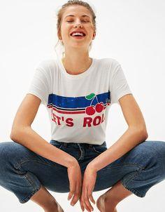 Let's Roll printed T-shirt - T- Shirts - Bershka Hungary