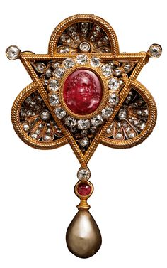 Young Faun Ruby Cameo Brooch/Pendant, c.1875, by Augusto Castellani. Gold, Diamonds, Pearl, Ruby.