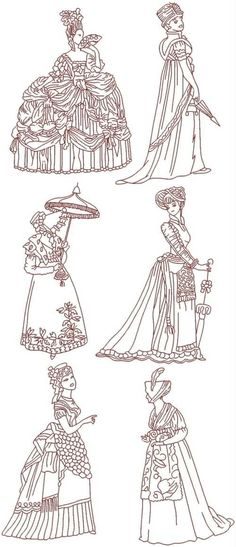 Advanced Embroidery Designs - Fashionable Ladies of the Past Redwork Set I
