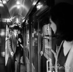 "In a train on the set of ""A Hard Day's Night"", London vicinity, 1964."