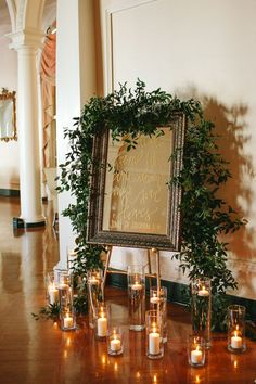 Quote on mirror/love foliage and candles/but white frame?