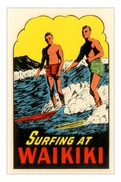 Surfing at Waikiki, Hawaii Premium Poster