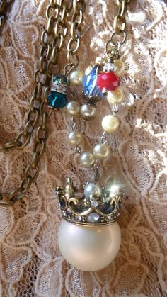 Repurposed Crown Pearl Crystal Necklace by RomanticallyVintage, $43.00
