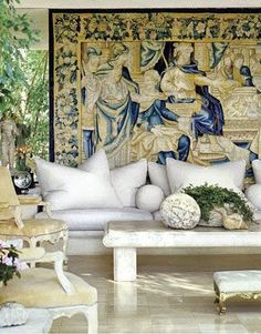The French Tangerine: ~ antique tapestry  Michael Taylor designs