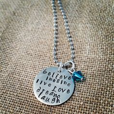 Hand Stamped Believe Dream Love Necklace by HippieSwankBoutique, $28.00