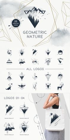 Geometric Nature consists of 20 logos and badges… - .- Geometric Nature besteht aus 20 Logos und Abzeichen … – – tattooed models Geometric Nature consists of 20 logos and badges - Mini Tattoos, Small Tattoos, Tattoos For Guys, Tattoos For Women, Geometric Nature, Geometric Logo, Geometric Designs, Geometric Triangle Tattoo, Geometric Graphic Design