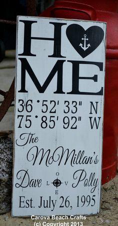Wedding Sign - Beach Wedding - Nautical Wedding - Beach Decor - Names Date Latitude Longitude - Personalized - Custom - Anchor Decor - Sign