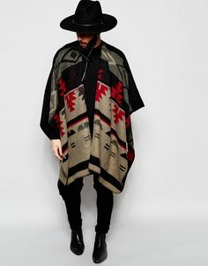 ASOS BRAND ASOS Cape In Geo-Tribal Design In Monochrome