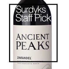 WINE SALE STAFF PICK - 2013 Ancient Peaks - Zinfandel Ancient Peaks Zinfandel comes from California's Central Coast. Dark and rich red-berry fruitiness is showy, yet dry and supple. I like the pungent black pepper and aromatic caramel and cola spiciness Wine Sale, Central Coast, Liquor, Berry, Pepper, Caramel, California, Dark, Bottle