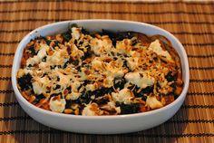 Lasagne m. spinat, portobello, ricotta og pinjeker...