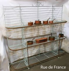 Antique French cast iron and wrought iron bakers stand Bakers Rack, Vintage Decor, French Vintage, Wrought Iron, French Antiques, Cast Iron, Cabinet, Storage, Furniture