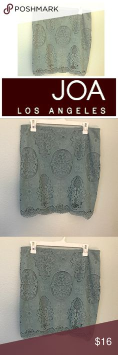 """Vintage Knit Crochet Lace A Line High Waist Skirt Pre loved but in excellent condition, like new. Super comfortable lining. J.O.A Los Angeles Knit Crochet Lace Mint blue with gray undertone color A line skirt. There is about a 6"""" zipper on the side. Skirt has stretch to it, easy to wear all day. The front is about 18"""" laying flat from belly button to bottom of skirt. The waist is about 16"""" on the front laying flat from side to side. Top rated seller, fast shipping, bundle for the best deals…"""