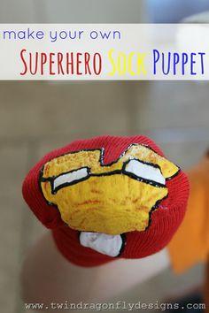 Superhero Sock Puppets at www.733blog.com