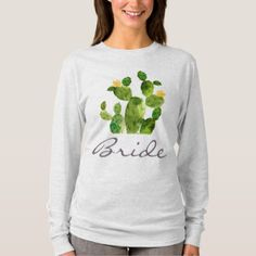 BRIDE GREEN WATERCOLOUR DESERT CACTUS FLOWER T-Shirt - calligraphy gifts custom personalize diy create your own