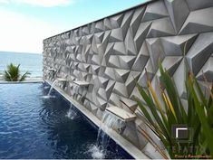 Our social Life Concrete Tiles, Concrete Design, Pisa, Lucca, 3d Wall Panels, Wall Finishes, Modern Wall Decor, Bangkok, Potted Plants