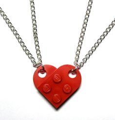 DIY?? DOUBLE chain LEGO Heart Necklace, Lego Heart Friendship Necklaces - Gift Set For Couples, Family, Friends, BFFs - 2 necklaces, 1 Whole Heart. $11.99, via Etsy.