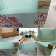 -caja de madera (ésta es de fresas). -pintura chalk paint fresa boho y mint/menthe. -plantilla. -brochas (plana para pintar y la otra de esponja para realizar la estampación) -Cola para fijar la pintura. -cordel para los detalles.