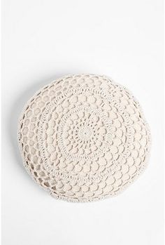 Crochet Round Pillow from Urban Outfitters. Wonder if I could make something like this.