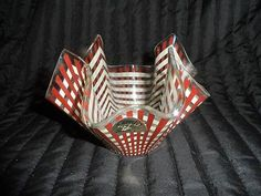 Chance Glass Brown and cream gingham Handkerchief Vase