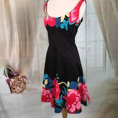 Nine West Black Floral Dress Beautiful black floral dress.  Excellent condition. Size 12. Nine West Dresses