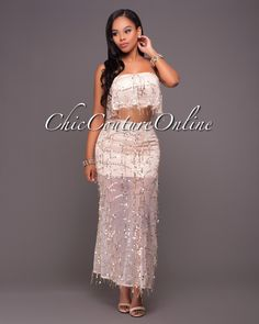 Chic Couture Online - Carolina Champagne Flowing Sequins Two Piece Set.(http://www.chiccoutureonline.com/carolina-champagne-flowing-sequins-two-piece-set/)