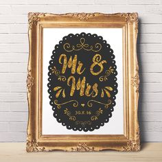 Mr and Mrs Sign - Wedding Art to Print - Gold Foil Effect - Customized Gift -  Gift for Newly Weds - Printable Wall Art - Anniversary Gift by ratitaprints on Etsy