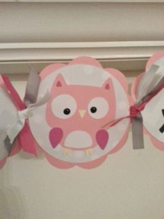 Pink and Gray Baby Girl Owl Baby Shower Banner by CheekyCreationz, $16.15