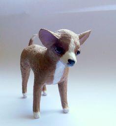 paper mache art dog sculpture chihuahua figurines by natynatyva