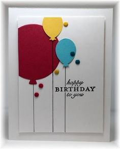 Cheery balloons, big one and two smalle ones. Drawn lines and stamped sentiment. Scrappin' and Stampin' in GJ Homemade Birthday Cards, Homemade Greeting Cards, Homemade Cards, Bday Cards, Kids Birthday Cards, Cumpleaños Diy, Karten Diy, Happy Birthday Balloons, Cricut Cards
