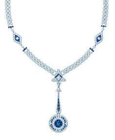 Tiffany necklace with a rare unenhanced esteemed Montana sapphire, diamonds and carved Montana sapphires in platinum, from the 2013 Blue Book Collection.