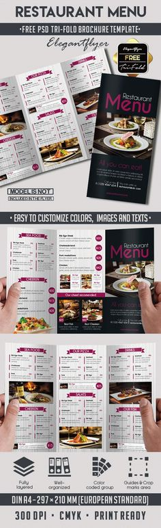chalkboard trifold menu template psd design download http