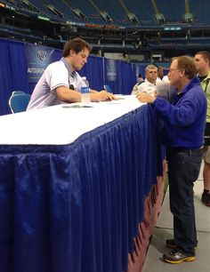 This is happening now at #RaysFanFest! Wil Myers autographing for fans!