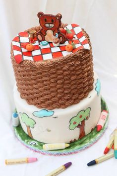 By desserts delight! Personalized Cakes, Themed Cakes, Picnic, Birthday Cake, Teddy Bear, Canvas, Desserts, Food, Theme Cakes