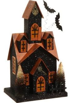"""14"""" LED Lighted Glitter Drenched Halloween Haunted House Table Top Decoration"""