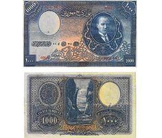 En nadir Türk paralarından 1927 tarihli 1000 lira. Türkiye'de iki koleksiyonerde olduğu bilinen binlikle, 'zamanında' İstanbul'da 3 katlı ev almak mümkünmüş... Değeri 1 milyon TL'yi buluyor... Money Clip, Nostalgia, Coins, History, Investing, Club, Collection, Silver Coins, Stop It