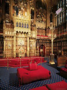 Woolsack, House of Lords, Houses of Parliament, Westminster, London, England, United Kingdom Lámina fotográfica