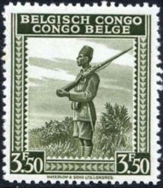 """Belgish Congo Stamp - Soldier inscribed """"Belgisch Congo Congo Belge"""""""