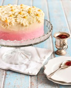 brown butter pink ombre daisy cake with strawberry...