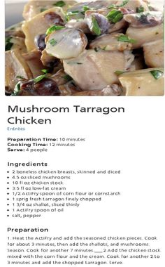 Actifry-Mushroom Tarragon Chicken Cooking Time, Cooking Recipes, Tefal Actifry, Tarragon Chicken, Air Frying, Boneless Chicken Breast, Food Art, Instant Pot, Entrees